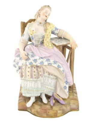 19th C. Meissen Porcelain Figure of a Sleeping Maiden