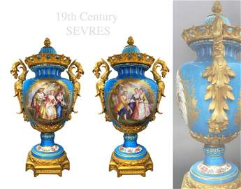 Pair of 19th C. French Sevres Meuseum Quality Vases