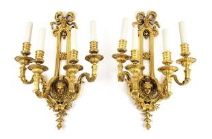 Pair of 19th C. French Gilt Bronze Figural Wall Sconces