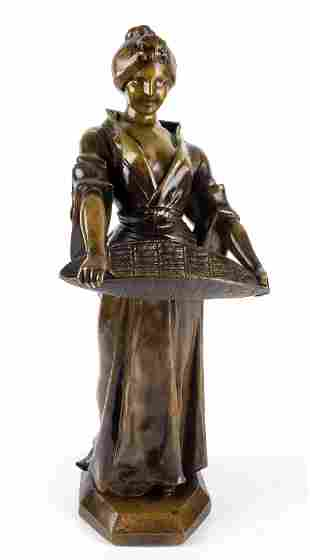 """19th C. Bronze Figure of Woman Signed """"Scotte"""""""