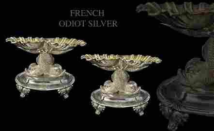 19th C. Pair of French Odiot Silver Double Salt Dishes
