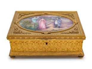 19th C. French Gilt Bronze & Enameled Jewelry Box