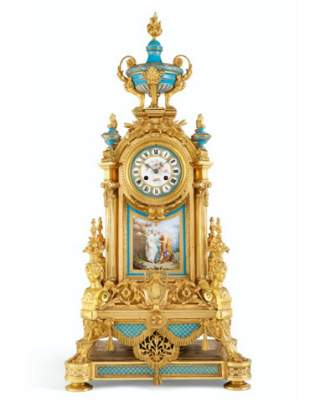 Magnificent Large 19th C. Sevres Gilt Bronze &