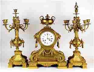 Magnificent 3 Pc. 19th C. Dore Bronze Clockset