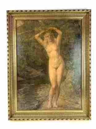Oil on canvas painting of a nude lady