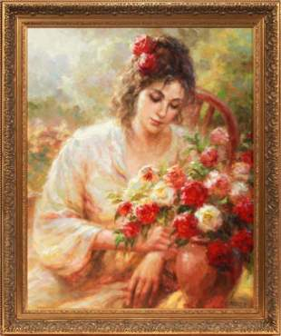 19th C. Oil on Canvas of Woman with Bouquet Signed