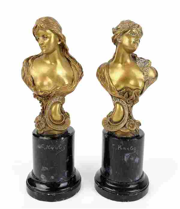 A Pair of 19th C. Bronze & Marble Busts, Signed