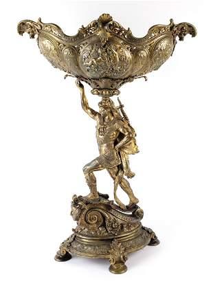 Large 19th C. Gilt Bronze Figural Centerpiece