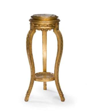 19th C. French Giltwood & Marble Carved Side Table