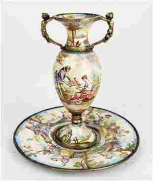 19th C. Viennese Enamel on Silver Figural Vase w/