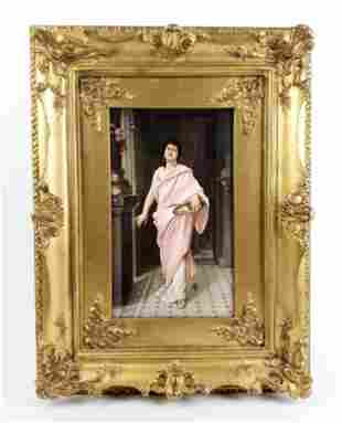 Magnificent 19th C. KPM Porcelain Plaque of Maiden