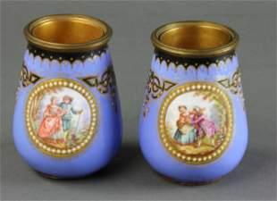 Pair of 19th C French Enamel Vases