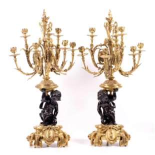 Pair of Large 19th C. French Gilt Bronze Figural