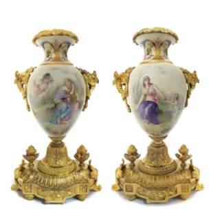 Pair of 19th C. Sevres Porcelain & Bronze Urns Signed