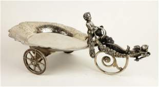 19th C. German Silverplated Figural Carriage Tray