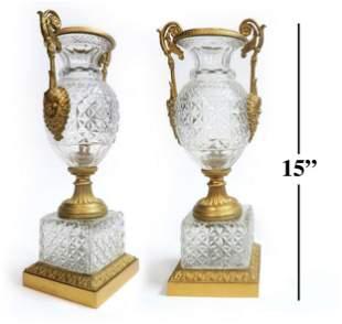 19th C. Pair of Figural Bronze & Crystal Vases