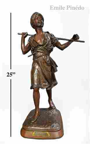 "19th C. Emile Pinedo ""Arabe En Marche"" Bronze Figure"