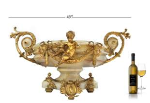 Monumental 19th C. French Marble Gilt Dore' Bronze