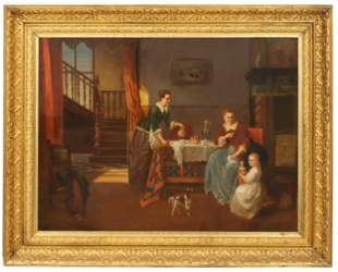 Alexis Van Hamme (Belgian, 1818-1875) Oil on Canvas,