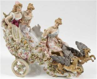 Large German Porcelain Figural Group Women on Stage