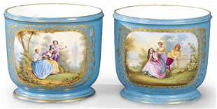 Pair of 19th C. Sevres Porcelain Cachepots