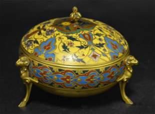 19th Century F. Barbedienne Bronze Champleve Enamel