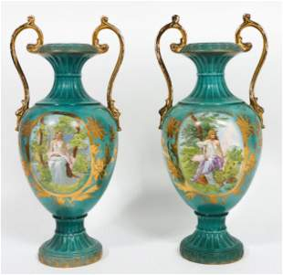 Pair of Sevres Style Porcelain Urns