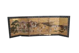 19th C. Chinese Six Panel Table Screen