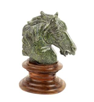 Carved Stone Figure of Horse on Wooden Base