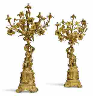 Pair of 19th C. French Figural Gilt Bronze Six Light