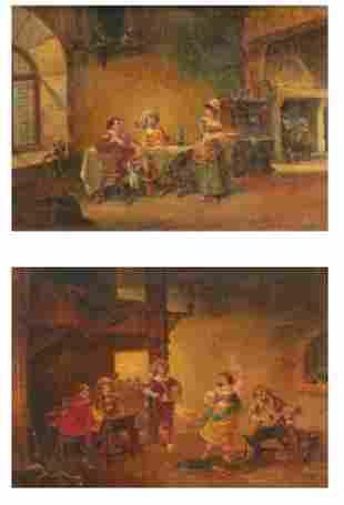 "PAUL VOGLER (FRENCH, 1852-1904) Pair of ""Cavaliers dans"