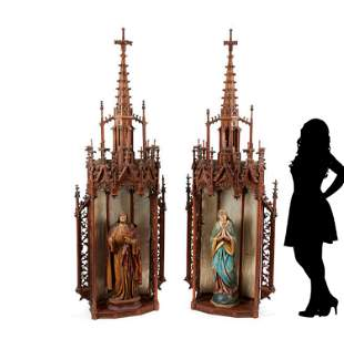 Pair of Monumental 19th C. Gothic Polychrome Decorated