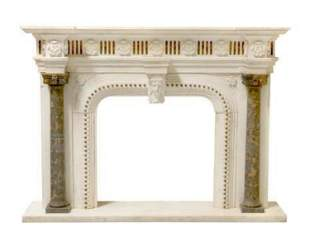 A Neoclassical Style Multicolor Marble Fireplace Mantle