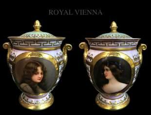 Pair of 19th C. Royal Vienna Iridescent Painted
