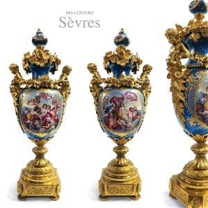 Pair of 19th Century Figural 'Sevres' Classical Vases
