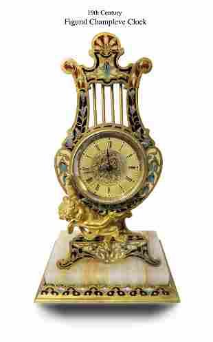 19th C Champleve Figural Clock / Watch