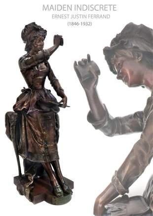 19th C. Important Original Bronze Maiden Indiscrete