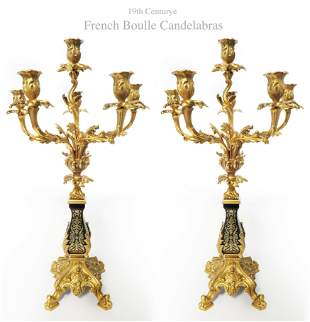 Pair Of French 19th C Bronze Boulle Candelabras