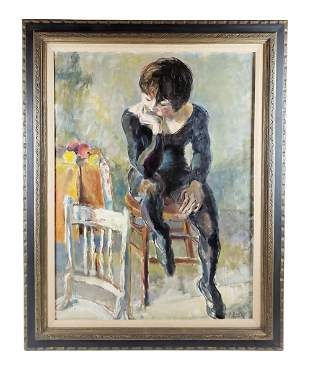 19th C. Oil On Canavas of Seated Woman Signed K. Davis