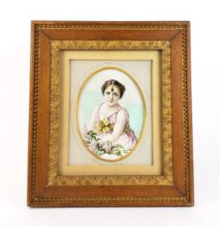 19th C. Orientalist Oval Painting of Woman Framed