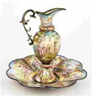 19th C. Viennese Enamel on Silver Vase w/ Underplate