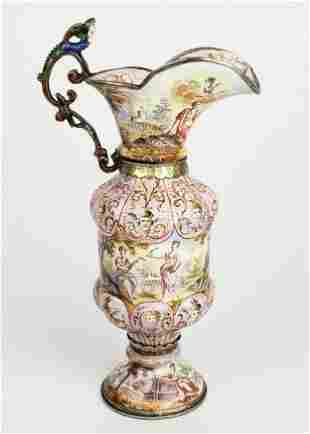 19th C. Viennese Enamel on Silver Vase