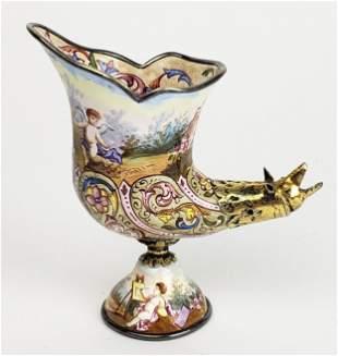 19th C. Viennese Enamel on Silver & Bronze Figural Vase