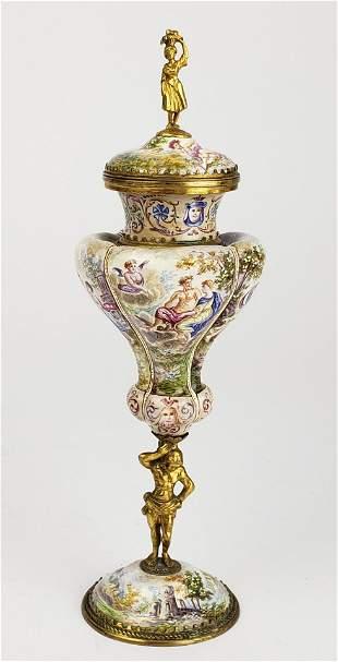 19th C. Viennese Enamel on Bronze Figural Centerpiece