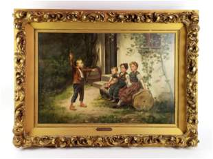 """Theo Kleehaas (1854-1929) """"Children in Garden"""" Oil on"""
