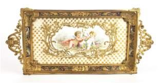 19th C. French Champleve Enamel & Gilt Bronze Tray