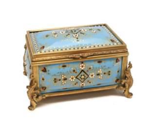 19th C. French Enamel Jewlled & Bronze Box