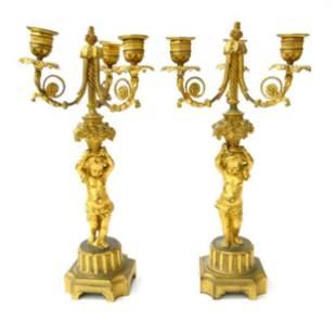 Pair of 19th C. Dore Bronze Figural Bronze Candelabras
