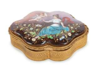 19th C. French Enamel Lidded Trinket Box