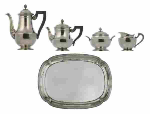 A 5 Pc. Christofle Silverplated Tea Set